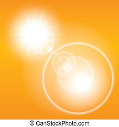 Summer sun lens flare background. Orange sky.
