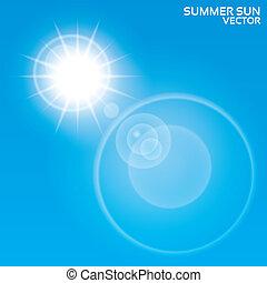 Summer sun lens flare background. Vector.