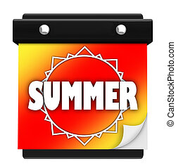 Summer Sun Page Wall Calendar Date Start New Season