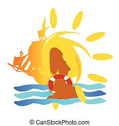 summer sun sign vector illustration