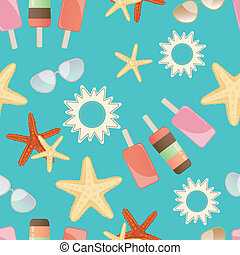 Summer sun, starfish and icrecream - Summer background...