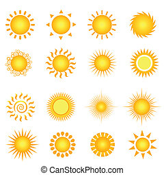 Summer sun - Various suns icon set on white