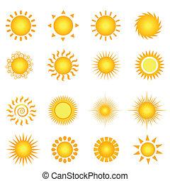 Summer sun - Various suns icon set on white