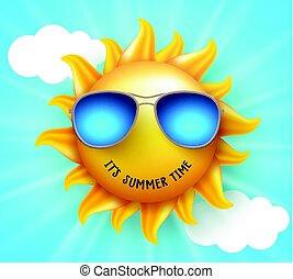 Summer sun vector design with funny smile and summer time text