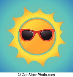 Summer sun with hipster sunglasses