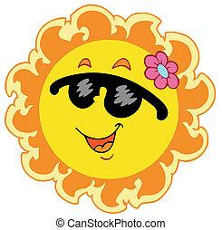 Summer Sun with pink flower