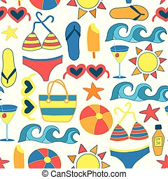 Summer Sunbathing Beach items flat seamless vector background