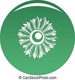 Summer sunflower icon vector green