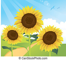Summer Sunflower Landscape - cartoon illustration of...
