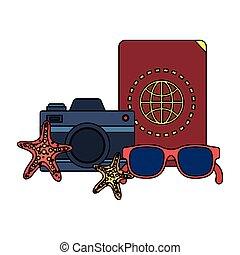 summer sunglasses and passport with camera