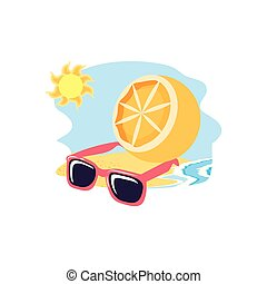 summer sunglasses in the beach with orange