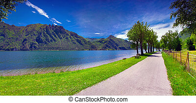Summer sunny day in the park at Lake Idro