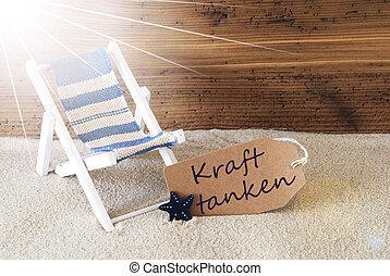 Summer Sunny Label, Kraft Tanken Means Relax