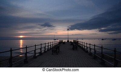 Summer Sunrise at Swanage Pier - Summer sunrise at the banjo...