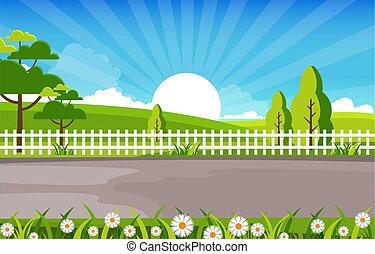 Summer Sunrise Green Nature Field Land Sky Landscape Illustration