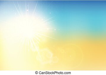 Summer sunset and sky with bokeh flare on blur background.