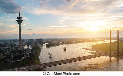 summer sunset at dusseldorf in germany
