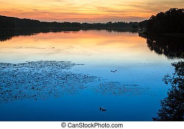 Summer sunset at the lake