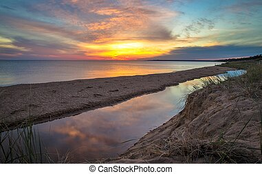 Summer Sunset Background - Sunset on the shores of Lake...