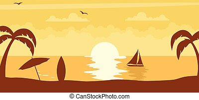 Summer sunset background with sun on the beach