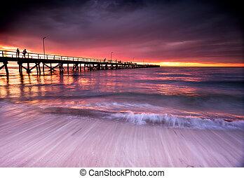 Summer Sunset - Beautiful Sunset at Semaphore Beach, South...