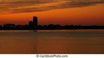 Summer sunset cityscape panorama 4k time lapse. Beautiful Skyline Sunrise