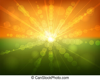 Summer sunset bokeh effect vector background.