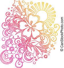 Summer Sunset Hibiscus Doodle