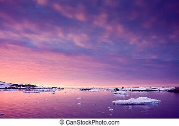 Summer  sunset in Antarctica.  Beautiful winter background.