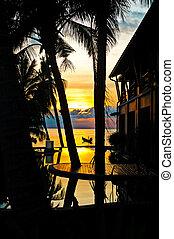 Summer sunset on a tropical island