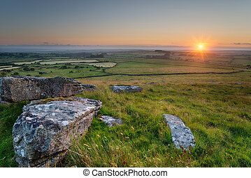 Summer sunset on Alex Tor on Bodmin Moor in Cornwall