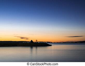 Summer sunset on the lake