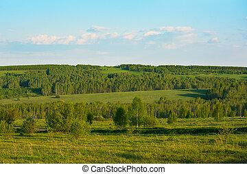 Summer sunset over beautiful  green hills landscape