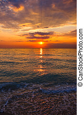Summer sunset over the sea