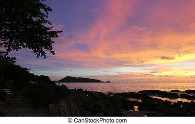Summer sunset sea landscape