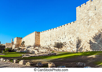 The fortress wall  - Summer sunset. The fortress wall of ...