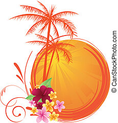 tree; vector; illustration; frangipani; climate; tropical; summer; painting; grunge; palm; floral; travel; swirl; flower; vacations; pattern; sunlight; orange; imagery; pink; yellow; orange; sun; splattered; design; spray; banner; background; silhouette; palm; stained; sunbeam; copy; culture; circle...