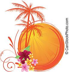 Summer sunset - tree; vector; illustration; frangipani;...