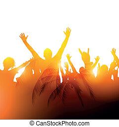 Summer Sunshine - A crowd in warm sunshine. Vector...