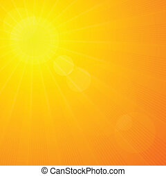 Summer sunshine green background with sun rays