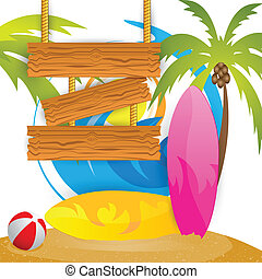 Summer Surfing Camp - easy to edit vector illustration of...