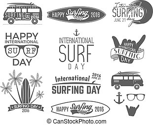 Summer surfing day graphic elements. Vector Vacation...