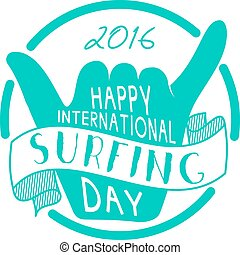 Summer surfing day tattoo design. Vector Vacation typography...