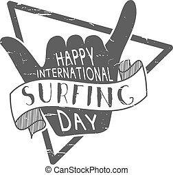Summer surfing day tattoo design. Vector Vacation monochrome...