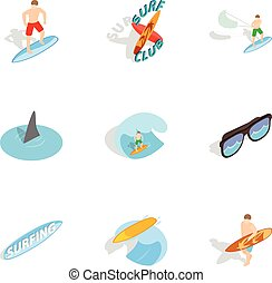 Summer surfing elements icons set