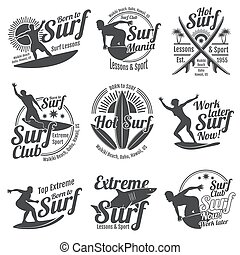 Summer surfing sports vector logos collection with surfer, surf board and ocean wave