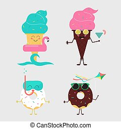 Summer sweets. Color ice cream and donuts cake design