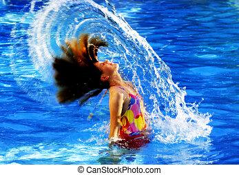 Summer Swimming Fun - Young girl in swimming pool flipping ...