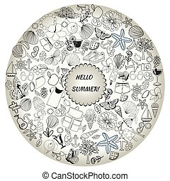 summer symbols and objects, drawing by hand vector.