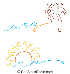 Summer symbols - Tropics symbols with palm sun and sea